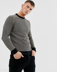 Ringspun Waffle Textured Knitted Jumper Black