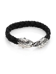 John Hardy Classic Chain Sterling Silver Black Chalcedony And Leather Bracelet Black Silver
