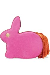 Hillier Bartley Bunny Calf Hair And Leather Clutch Pink