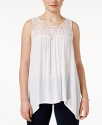 Pink Rose Juniors' Lace Yoke Asymmetrical Hem Tank Top White