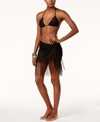 Dotti Delight Crochet Fringe Sarong Cover Up Women's Swimsuit Black