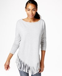 Betsey Johnson Fringed Top Stone Grey