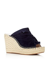 Kenneth Cole Women's Odele Suede Espadrille Wedge Slide Sandals Marine Blue