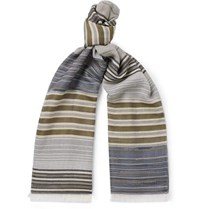 Missoni Fringed Striped Cotton And Silk Blend Scarf Blue