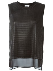 Vince Layered Textured Tank Top Black