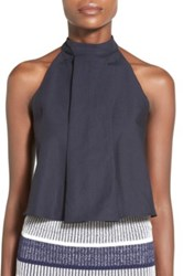 J.O.A. High Neck Linen And Cotton Pleated Tank