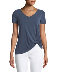 Casual Couture Short Sleeve V Neck Twisted Hem Tee Navy