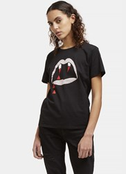 Saint Laurent Blood Luster Mouth Print Crew Neck T Shirt Black