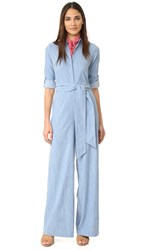 Alice Olivia Casy Wide Leg Jumpsuit Light Chambray