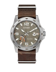 Citizen Prt Eco Drive Analog Stainless Steel And Leather Strap Watch Brown