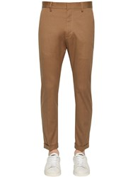 Dsquared 16.5Cm Stretch Cotton Cigarette Pants Camel