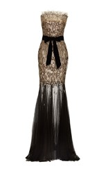 Monique Lhuillier Strapless Sequin Column Gown Black