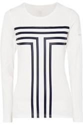 Tory Sport Printed Stretch Jersey And Mesh Top White