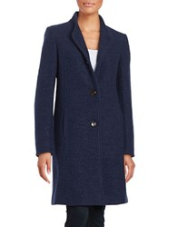 Ellen Tracy Button Down Wool Blend Coat Navy Blue