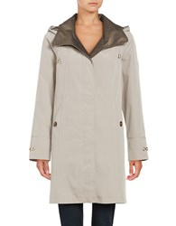 Gallery Removable Hood Rain Coat Beige