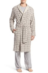 Men's Ugg 'Hugh' Plaid Cotton Robe Beige Navy