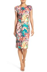 Eci Women's Print Scuba Sheath Dress