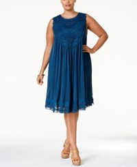 American Rag Plus Size Crochet Front Layered Shift Dress Only At Macy's Indigo