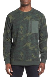 The Rail Men's French Terry Zip Pocket Raglan Pullover Green Forest Camouflage