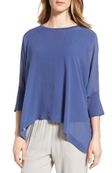 Eileen Fisher Women's Knit Trim Boxy Silk Poncho Top Blue Angel