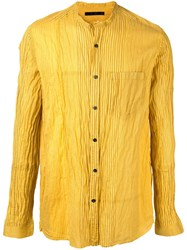The Viridi Anne Ribbed Button Up Shirt Yellow