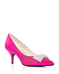 Caparros E Bow Embellished Satin Pointed Toe Pumps Magenta