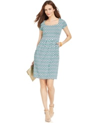 Charter Club Silky Printed A Line Dress Chilled Mint