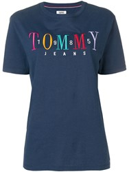 Tommy Jeans Embroidered Logo T Shirt Blue
