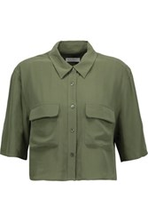 Equipment Cropped Washed Silk Shirt Army Green