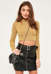 Missguided Petite Exclusive Gold Slinky Crop Top