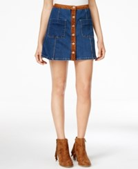 American Rag Faux Suede Trim Denim A Line Skirt Only At Macy's
