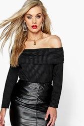 Boohoo Kerry Bardot Knitted Top Black