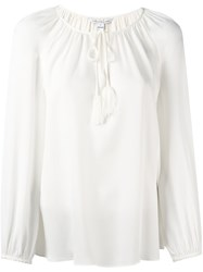 Diane Von Furstenberg Drawstring V Neck Blouse Nude And Neutrals