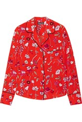 Markus Lupfer Printed Silk Crepe De Chine Shirt Red