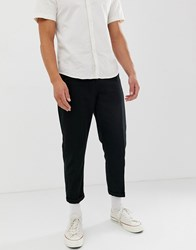 Another Influence Pleat Front Loose Cropped Trousers Black