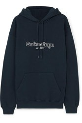 Balenciaga Embroidered Cotton Jersey Hoodie Midnight Blue