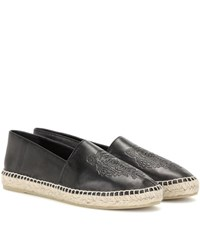 Kenzo Embossed Leather Espadrilles Black