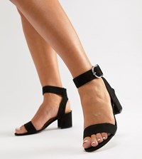 b70854e42 London Rebel Wide Fit Heeled Sandals Black