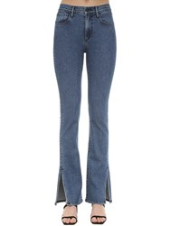 3X1 Flared Cotton Denim Jeans W Slits Blue