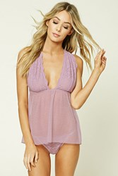 Forever 21 Lace Slip And Thong Panty Set Mauve