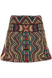 Valentino Woman Beaded Embroidered Mesh Mini Skirt Brown