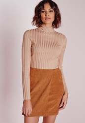 Missguided Long Sleeve Turtle Neck Knitted Crop Jumper Camel Beige