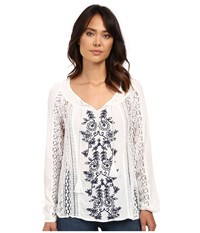 O'neill Holland Woven Embroidered Sleeved Top White Women's Clothing