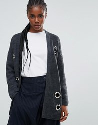 Asos Cardigan In Chunky Knit With Eyelet Detail Gray