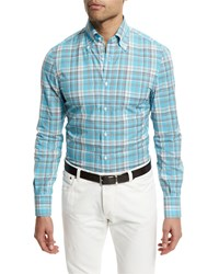 Isaia Madras Plaid Long Sleeve Sport Shirt Turquoise