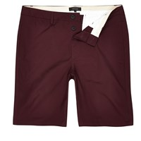 River Island Mens Burgundy Slim Fit Chino Shorts Red