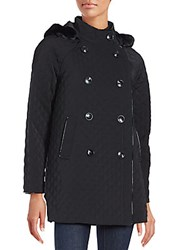 Jane Post Hooded Double Breasted Coat Black
