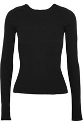 Tibi Lace Up Ribbed Knit Sweater Black