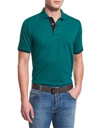 Kiton Short Sleeve Snap Placket Pique Polo Shirt Green Men's
