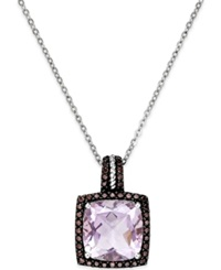 Macy's Pink Amethyst 12Mm And Swarovski Zirconia Pendant Necklace In Sterling Silver